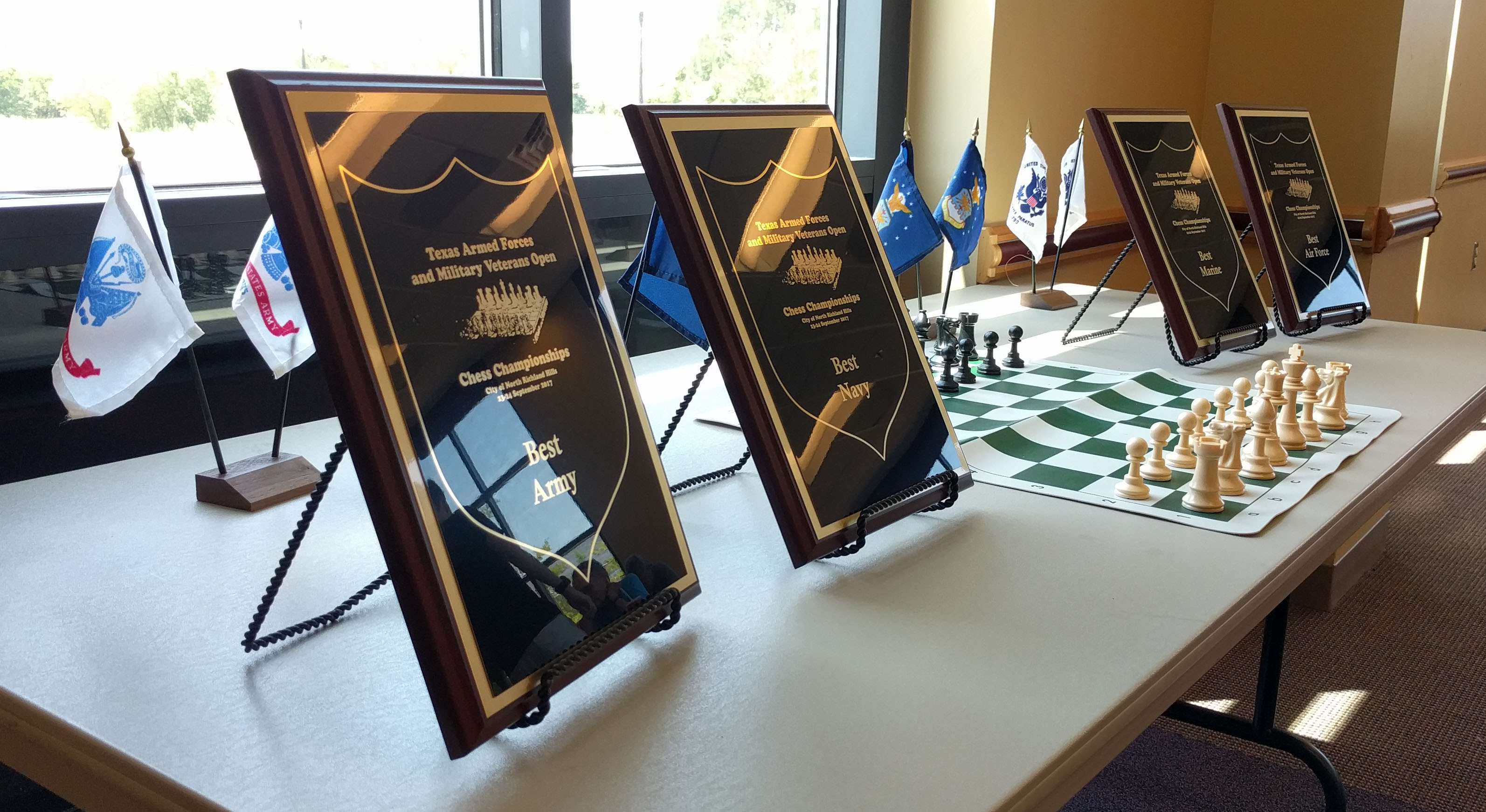 Photo of Award Plaques for 2017 Texas Armed Forces Chess Championship
