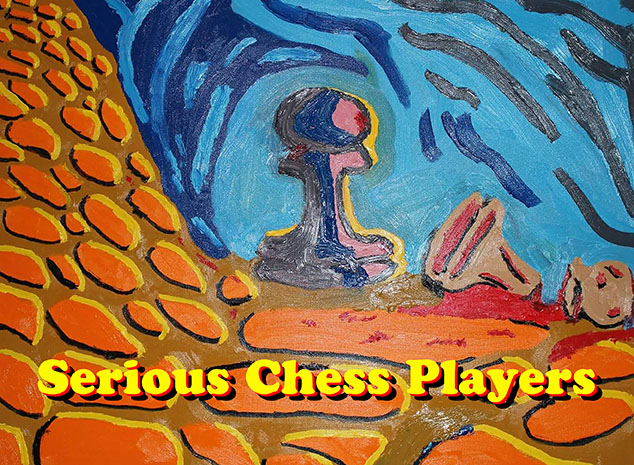 SERIOUS CHESS PLAYERS LOGO - ADOPTED FROM NOT FOR SISSIES - 30 BY 40 OIL ON CANVAS BY ARTIST JIM HOLLINGSWORTH